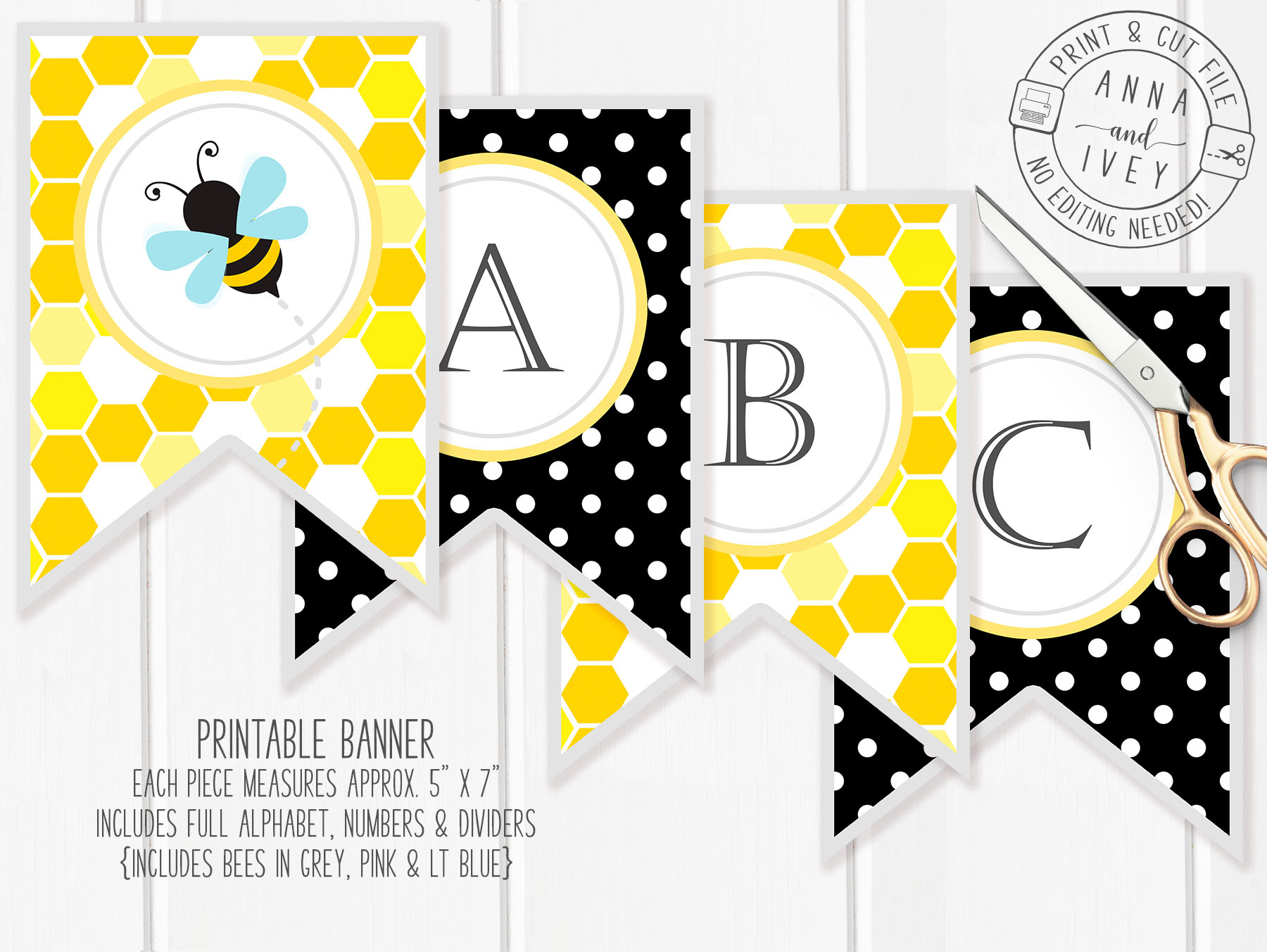 picture about Bee Printable referred to as Printable Bumble Bee Banner- Honeycomb Dots