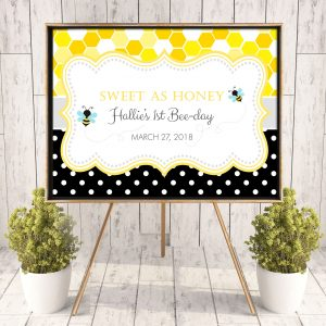 Printable Bumble Bee Honeycomb & Dots Poster