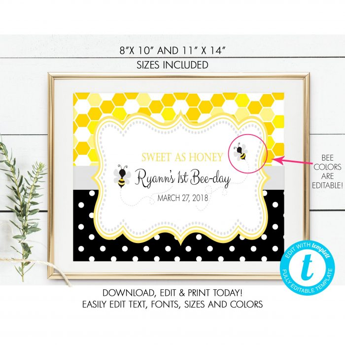 Printable Bumble Bee Honeycomb & Dots Sign