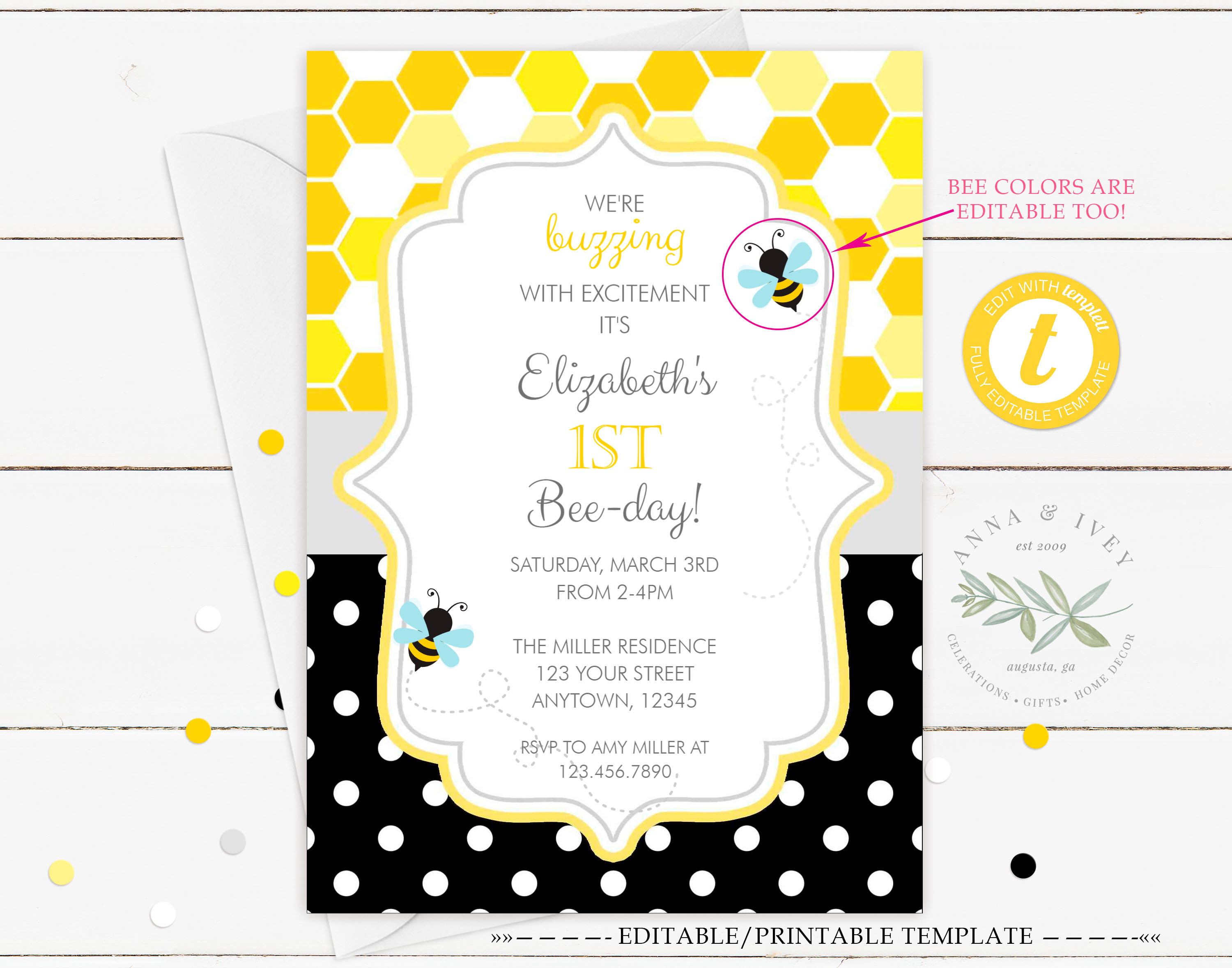 photograph about Bee Printable identify Printable Bumble Bee- Honeycomb Dots Birthday Invitation