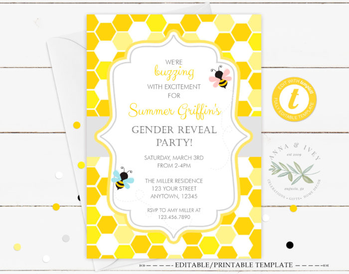 picture about Gender Reveal Printable known as Printable Bumble Bee- Honeycomb Gender Make clear Invitation
