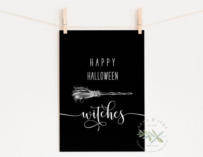 """""""Happy Halloween Witches"""" Printable Art- Black"""