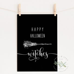 """Happy Halloween Witches"" Printable Art- Black"