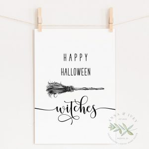 """Happy Halloween Witches"" Printable Art"
