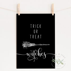 """Trick or Treat Witches"" Printable Halloween Art- Black"