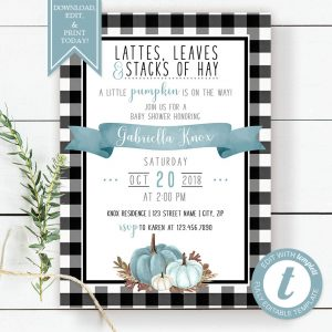 Printable Buffalo Check with Blue Pumpkins Baby Shower Invitation
