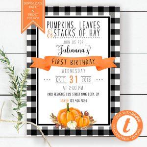 Printable Buffalo Check with Orange Pumpkins Birthday Invitation
