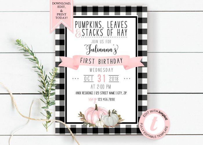 Printable Buffalo Check with Pink Pumpkins Birthday Invitation