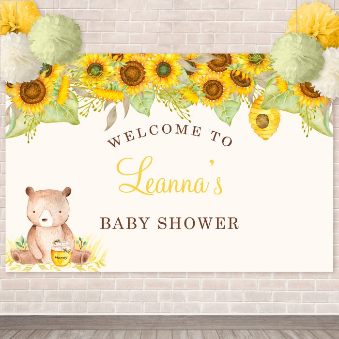 Printable Bear with Sunflowers Backdrop