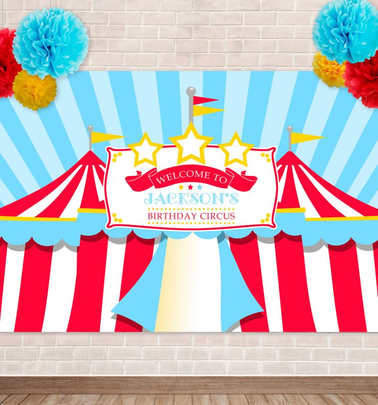 Printable Blue & Red Circus/Carnival Backdrop