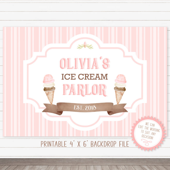 Printable Ice Cream Party Backdrop- Stripes