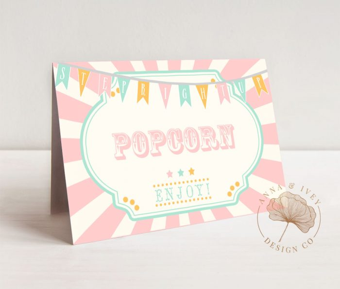Printable Pink Circus/Carnival Place Cards
