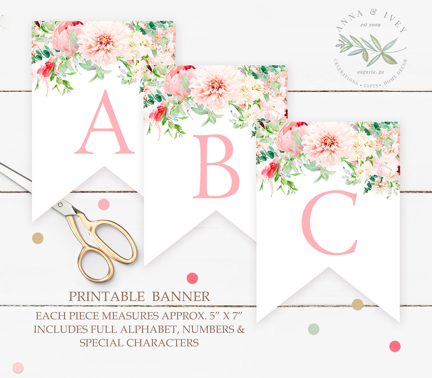 graphic relating to Printable Banner titled Printable Crimson Floral Banner