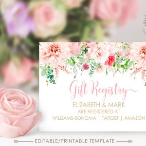 Printable Pink Floral Gift Registry Card