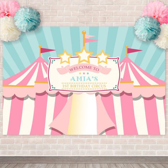 Printable Pink & Teal Circus/Carnival Backdrop