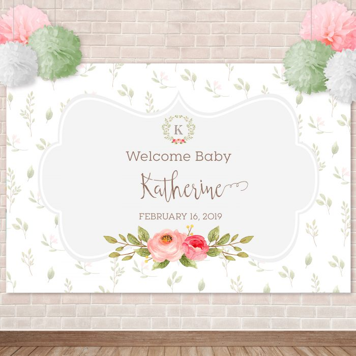 Printable Sweet Floral Backdrop with Initial