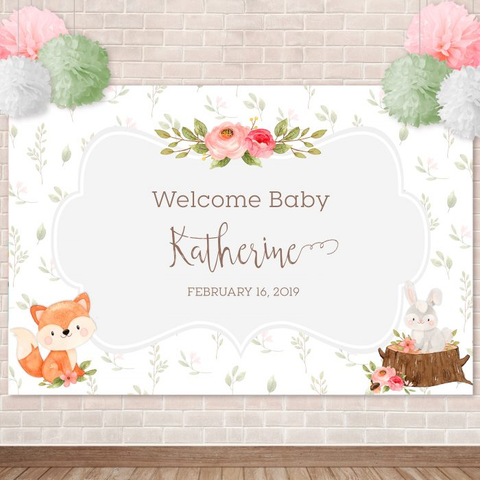 photograph relating to Printable Backdrop titled Printable Adorable Woodland Critters Backdrop