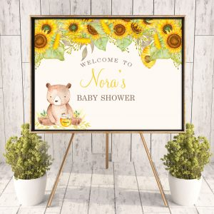Printable Bear with Sunflowers Poster