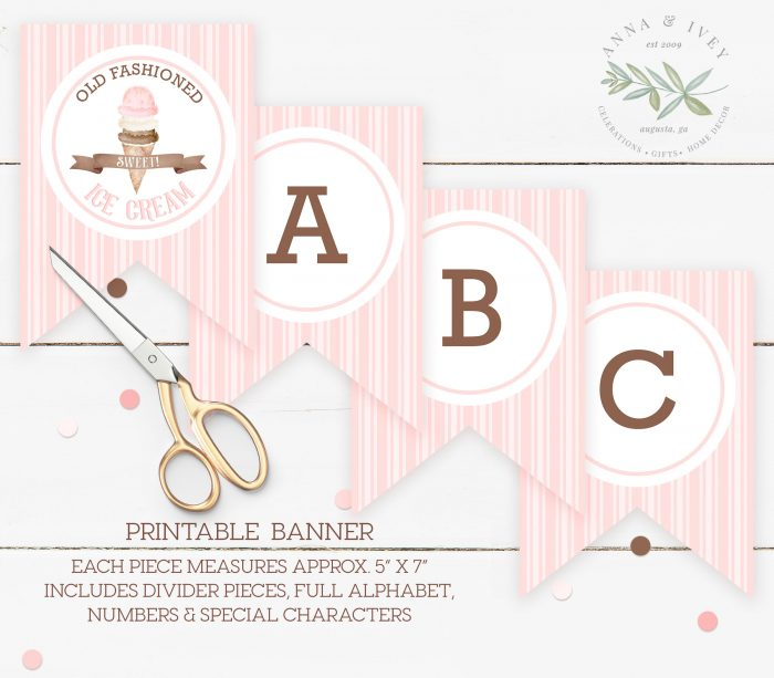 Printable Ice Cream Party Banner Stripes Anna Ivey
