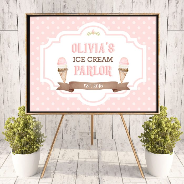 Ice cream parlor poster- dots