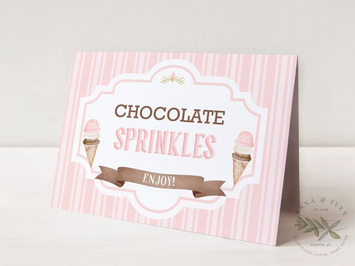 Printable Ice Cream Party Buffet/Place Cards- Stripes