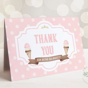 Printable Ice Cream Party Thank You Card- Dots