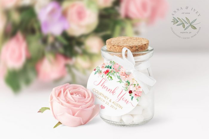 Printable Pink Floral Round Labels/Tags