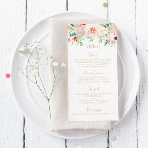 Printable Pink Floral Menu Cards