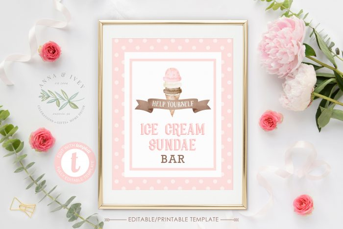 Printable Ice Cream Party Sign- Polka Dots