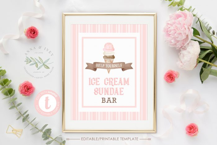 Printable Ice Cream Party Sign- Stripes