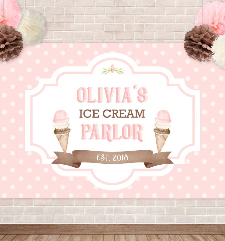 Printable Ice Cream Party Backdrop- Polka Dots