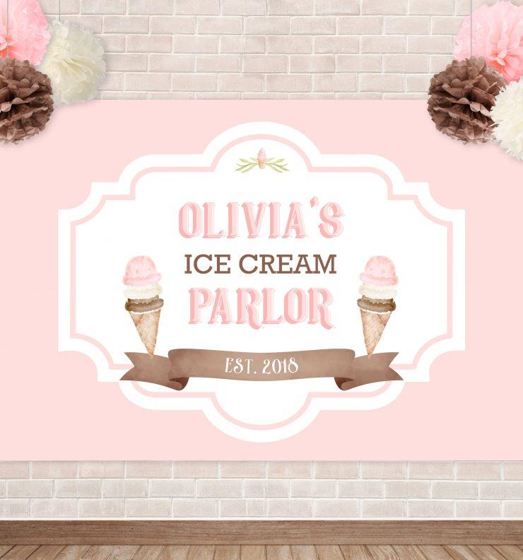 Printable Ice Cream Party Backdrop- Solid
