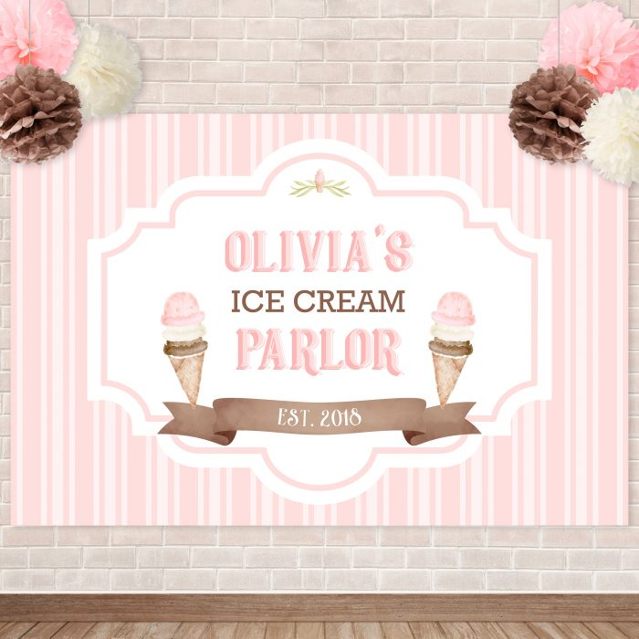 Printable Ice Cream Party Backdrop- Stripes