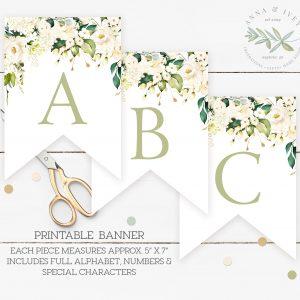 Printable White Floral Banner