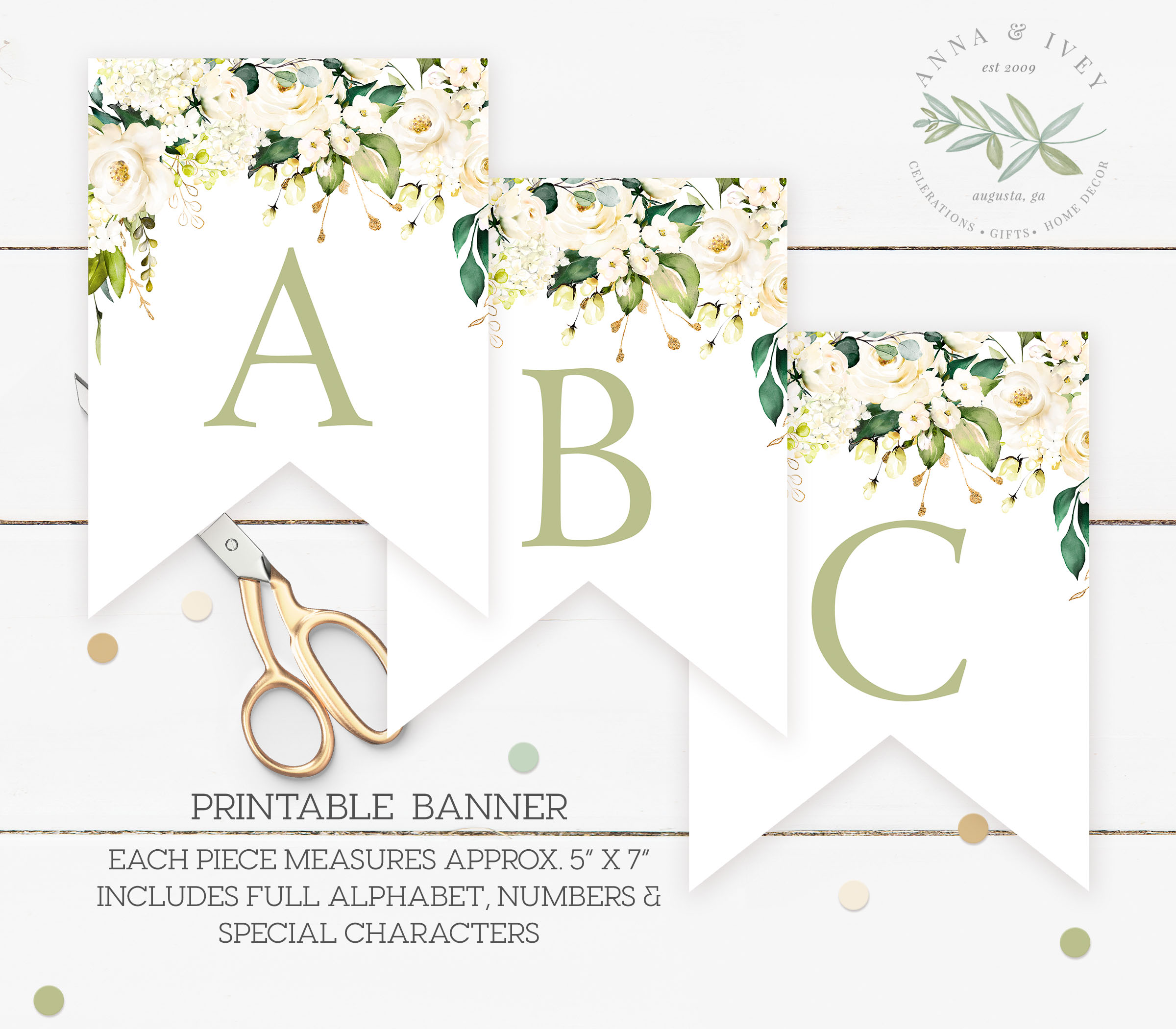 photograph regarding Banner Printable known as Printable White Floral Banner