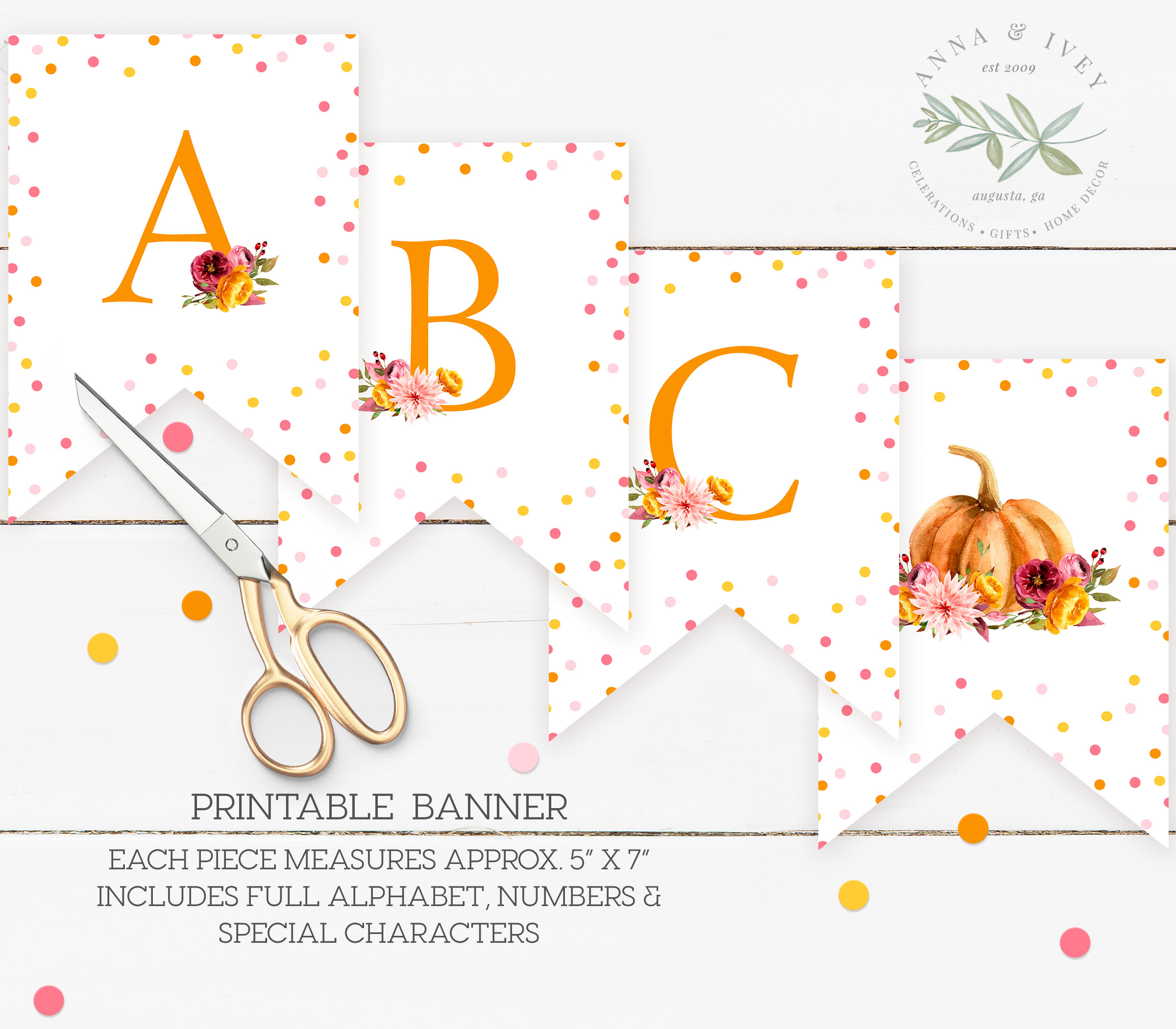 image relating to Banner Printable named Printable Minor Pumpkin Banner