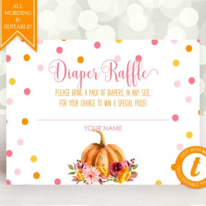 Printable Little Pumpkin Diaper Raffle Card