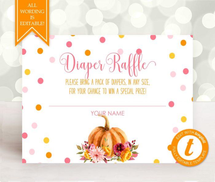 Printable Little Pumpkin Diaper Raffle Card