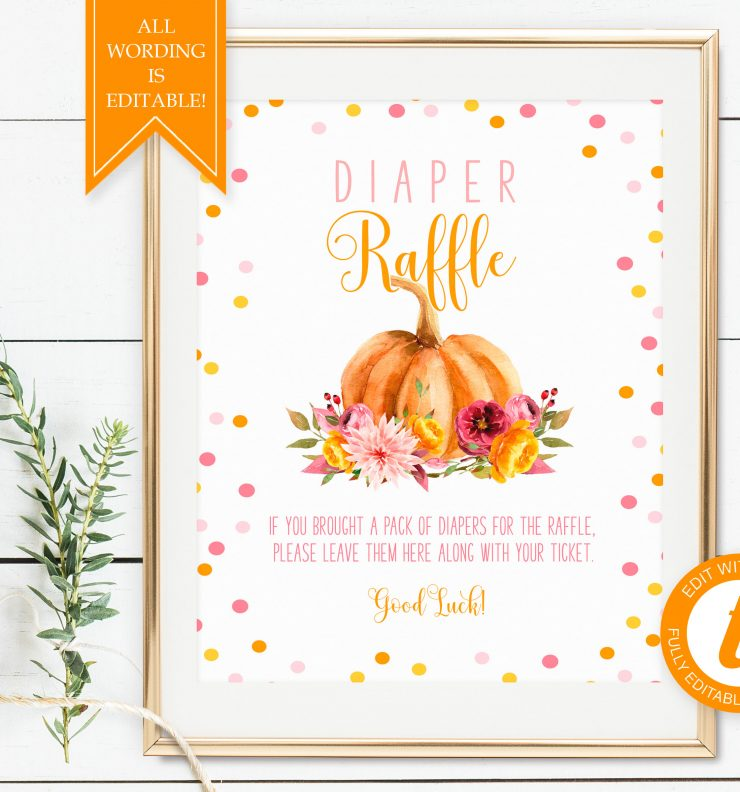 Printable Little Pumpkin Diaper Raffle Sign