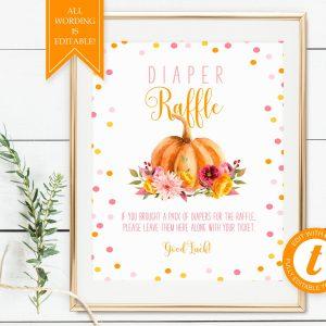 Printable Little Pumpkin Diaper Raffle Sign