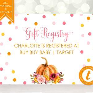Printable Little Pumpkin Gift Registry Card