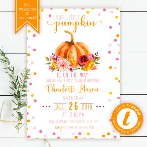 Printable Little Pumpkin Baby Shower Invitation