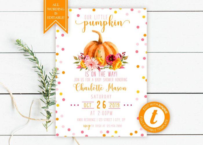 Printable Little Pumpkin Baby Shower Invitation