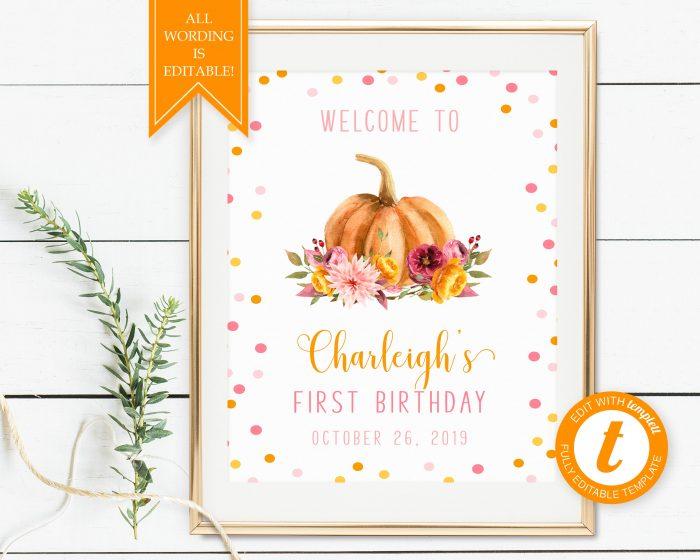 Printable Little Pumpkin Welcome Sign
