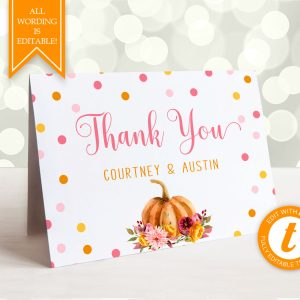 Printable Little Pumpkin Thank You Card