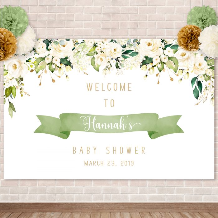 Printable White Floral Backdrop