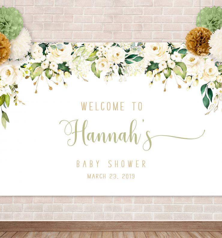Printable White Floral Backdrop