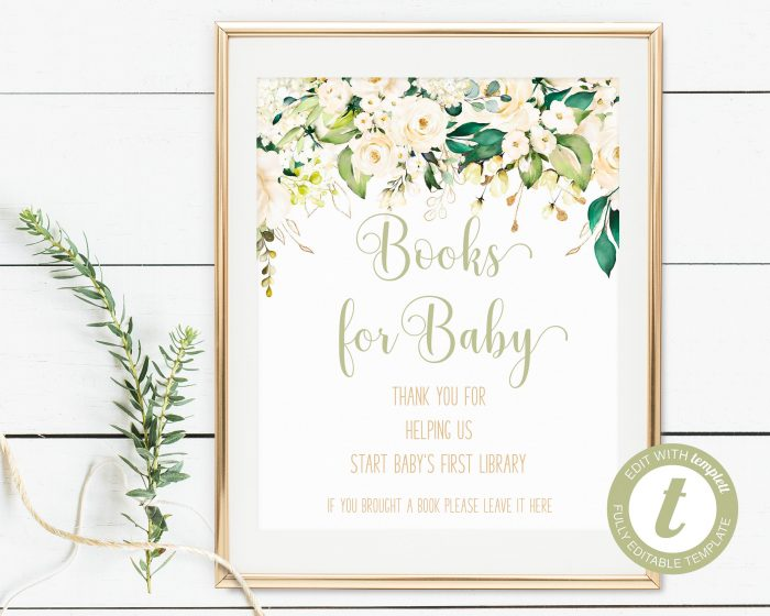 Printable White Floral Books for Baby Sign