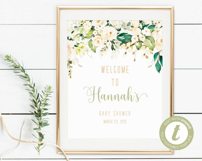 Printable White Floral Welcome Sign