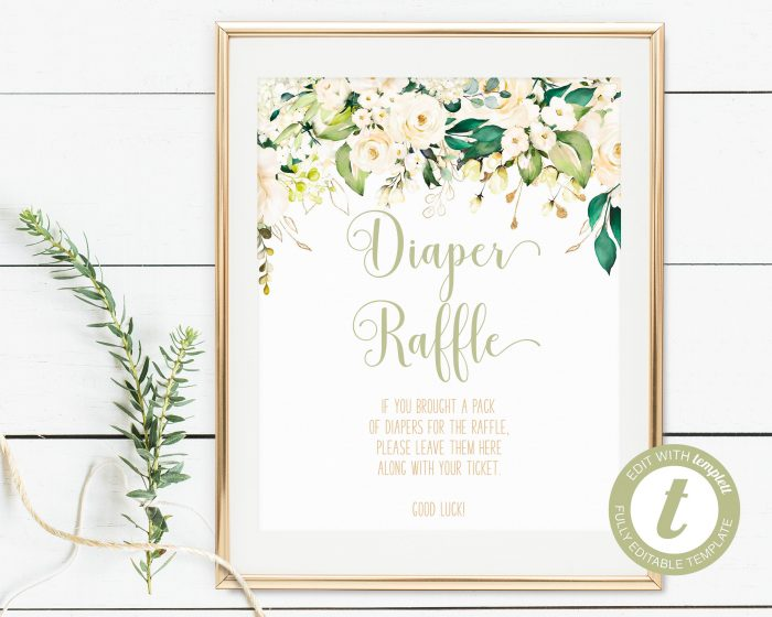 Printable White Floral Diaper Raffle Sign